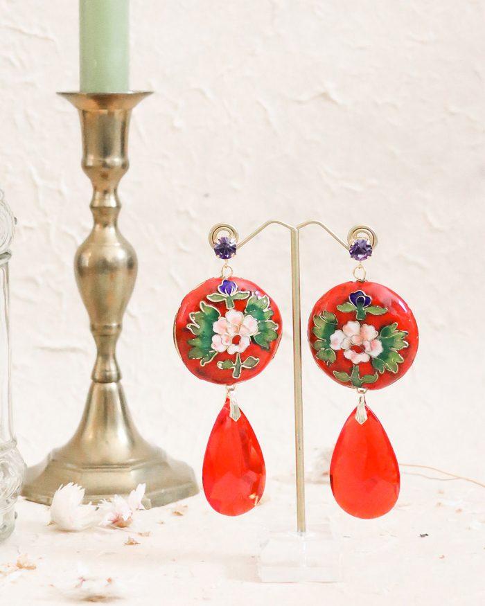 je suis flore, floral oorbellen, rode oorbellen