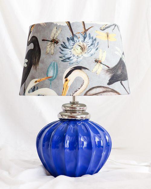 je suis flore, lamp, lampen, lampenkap, vogels, vogel print, aztec lampenkap, blauwe lamp
