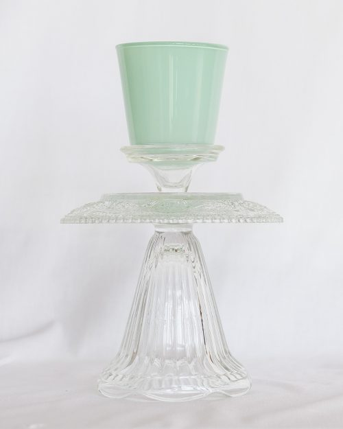 je suis flore, glass art, glass art buttercup, kandelaar