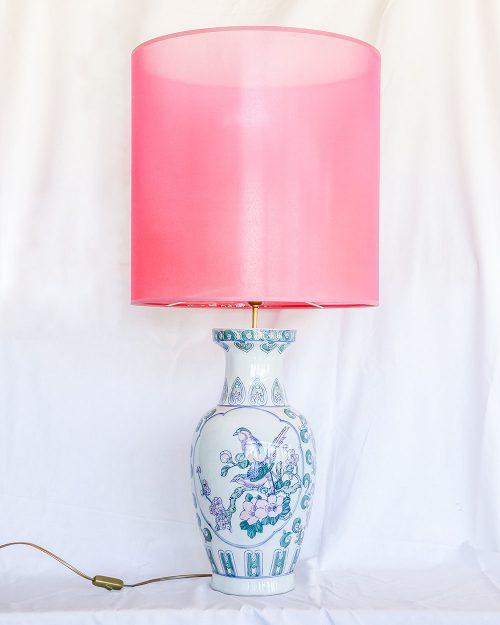 je suis flore, lampen, lampenkap, lampenkappen, lamp, jacquard, XL pink, blue bird lamp